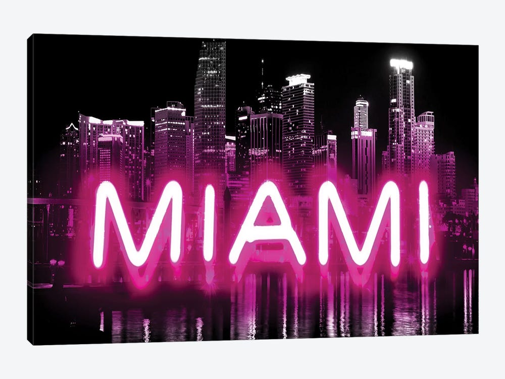 Neon Miami Pink On Black by Hailey Carr 1-piece Canvas Art Print