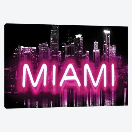 Neon Miami Pink On Black Canvas Print #HCR100} by Hailey Carr Canvas Print