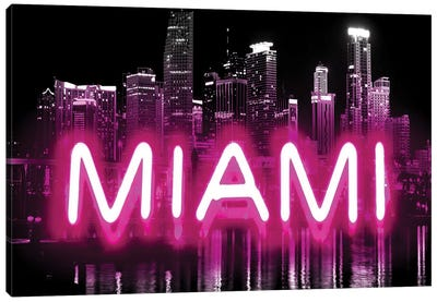 Neon Miami Pink On Black Canvas Art Print