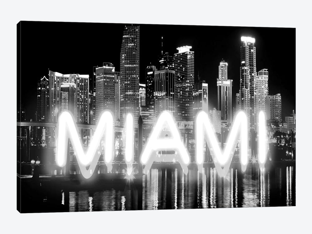 Neon Miami White On Black by Hailey Carr 1-piece Canvas Art