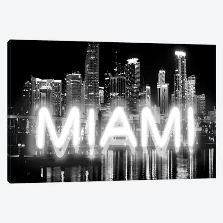 Neon Miami White On Black Canvas Print #HCR101} by Hailey Carr Canvas Art Print