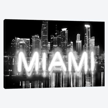 Neon Miami White On Black Canvas Print #HCR101} by Hailey Carr Canvas Art Print