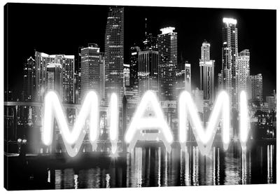 Neon Miami White On Black Canvas Art Print