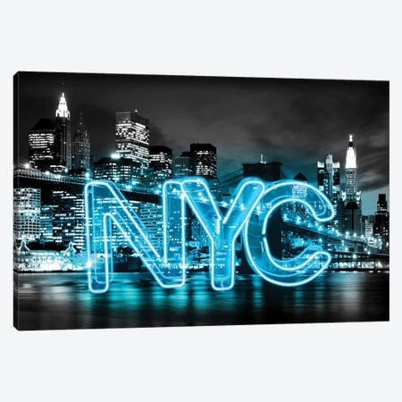 Neon New York City Aqua On Black 3-Piece Canvas #HCR102} by Hailey Carr Art Print