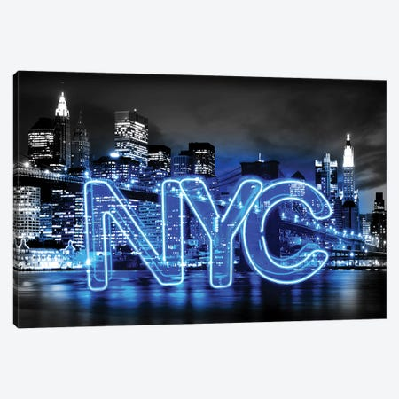 Neon New York City Blue On Black 3-Piece Canvas #HCR103} by Hailey Carr Canvas Print
