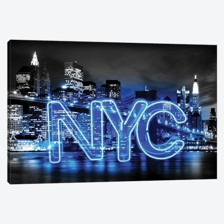 Neon New York City Blue On Black Canvas Print #HCR103} by Hailey Carr Canvas Print