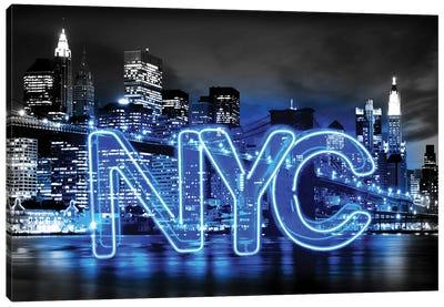 Neon New York City Blue On Black Canvas Art Print