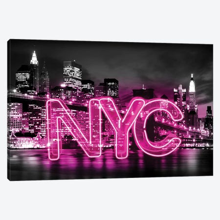 Neon New York City Pink On Black Canvas Print #HCR104} by Hailey Carr Canvas Wall Art