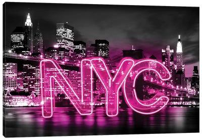Neon New York City Pink On Black Canvas Art Print