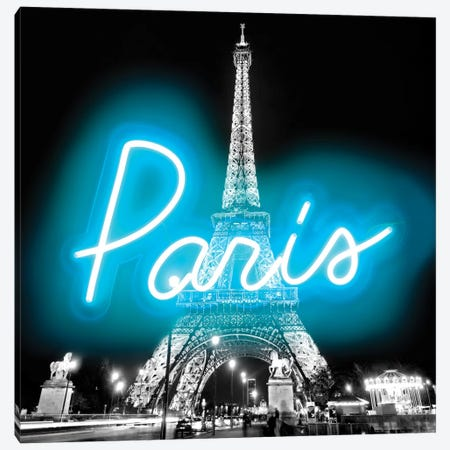 Neon Paris Aqua On Black Canvas Print #HCR105} by Hailey Carr Canvas Wall Art