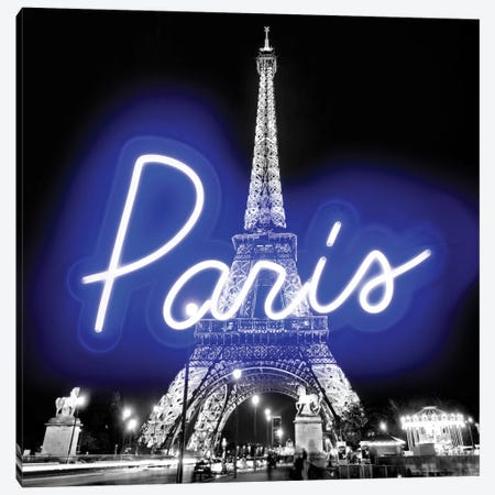 Neon Paris Blue On Black Canvas Print #HCR106} by Hailey Carr Canvas Wall Art