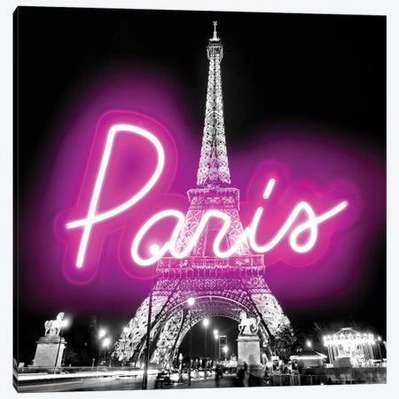 Neon Paris Pink On Black Canvas Print #HCR107} by Hailey Carr Canvas Artwork