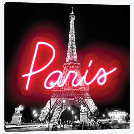 Neon Paris Red On Black Canvas Print #HCR108} by Hailey Carr Art Print