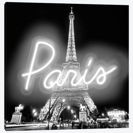 Neon Paris White On Black Canvas Print #HCR109} by Hailey Carr Canvas Art Print