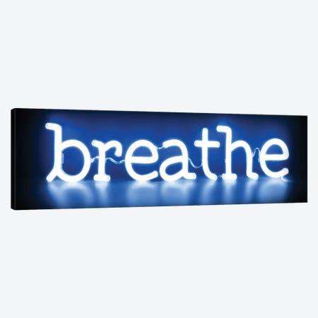 Neon Breathe Blue On Black Canvas Print #HCR10} by Hailey Carr Art Print