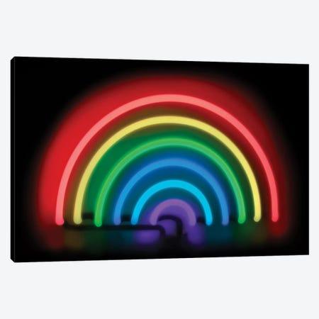 Neon Rainbow On Black Canvas Print #HCR110} by Hailey Carr Canvas Wall Art