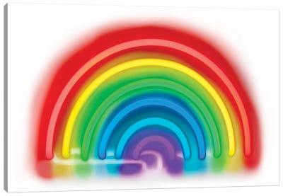 Neon Rainbow On White Canvas Art Print