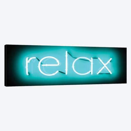 Neon Relax Aqua On Black Canvas Print #HCR112} by Hailey Carr Canvas Artwork