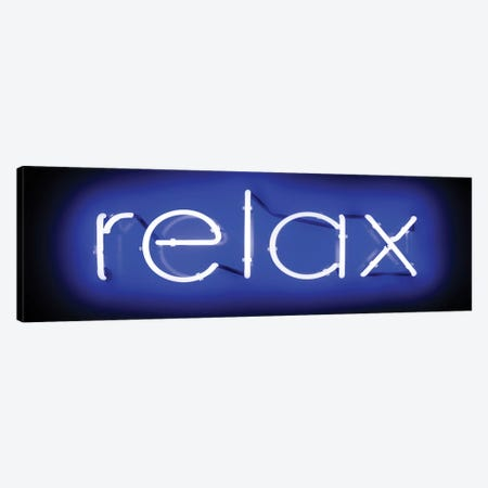 Neon Relax Blue On Black Canvas Print #HCR113} by Hailey Carr Canvas Artwork