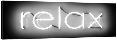 Neon Relax White On Black Canvas Art Print