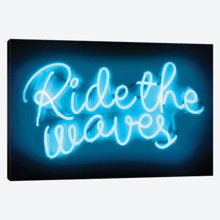 Neon Ride The Waves Aqua On Black Canvas Print #HCR117} by Hailey Carr Canvas Print