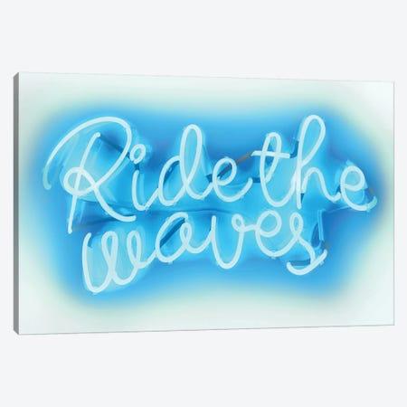 Neon Ride The Waves Aqua On White Canvas Print #HCR118} by Hailey Carr Canvas Art