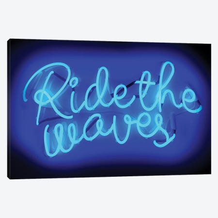 Neon Ride The Waves Blue On Black Canvas Print #HCR119} by Hailey Carr Canvas Wall Art