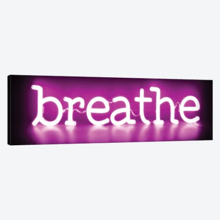 Neon Breathe Pink On Black 3-Piece Canvas #HCR11} by Hailey Carr Art Print