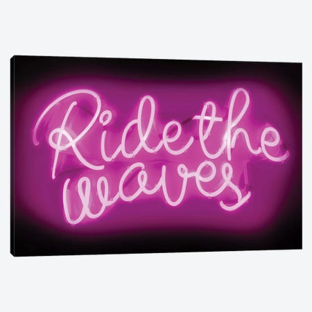 Neon Ride The Waves Pink On Black Canvas Print #HCR120} by Hailey Carr Canvas Print