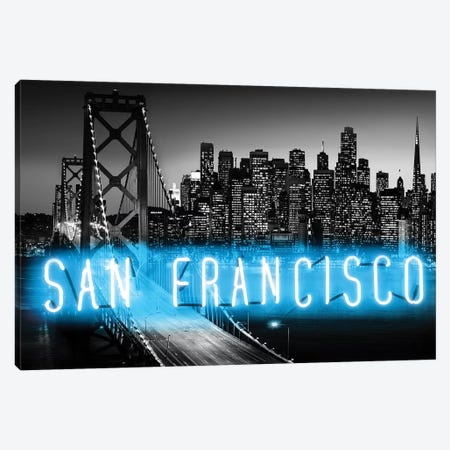 Neon San Francisco Aqua On Black Canvas Print #HCR123} by Hailey Carr Canvas Print