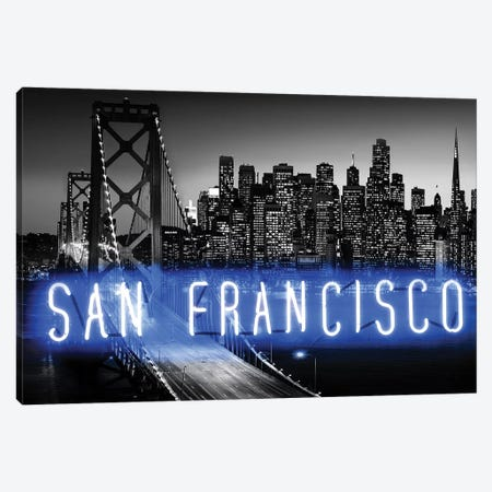 Neon San Francisco Blue On Black 3-Piece Canvas #HCR124} by Hailey Carr Canvas Wall Art