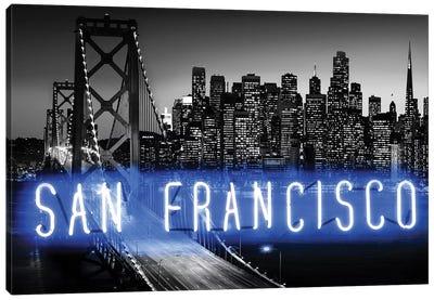 Neon San Francisco Blue On Black Canvas Art Print