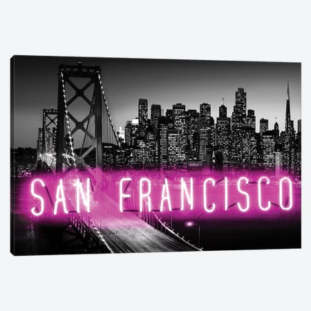 Neon San Francisco Pink On Black 3-Piece Canvas #HCR125} by Hailey Carr Canvas Wall Art