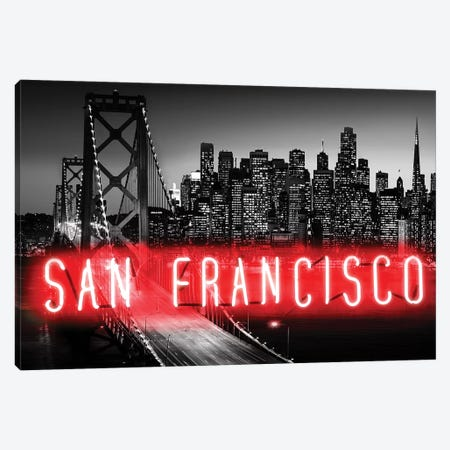 Neon San Francisco Red On Black Canvas Print #HCR126} by Hailey Carr Canvas Wall Art