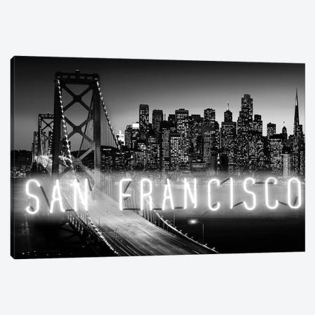 Neon San Francisco White On Black 3-Piece Canvas #HCR127} by Hailey Carr Canvas Wall Art