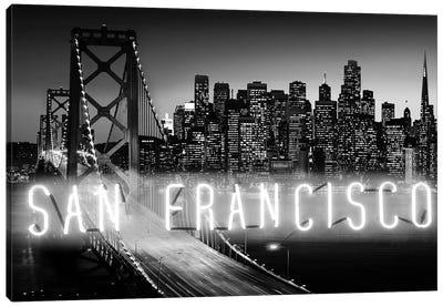 Neon San Francisco White On Black Canvas Art Print