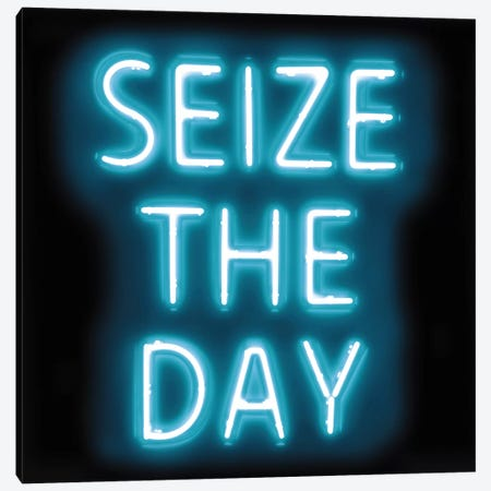 Neon Seize The Day Aqua On Black Canvas Print #HCR128} by Hailey Carr Art Print