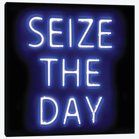 Neon Seize The Day Blue On Black Canvas Print #HCR129} by Hailey Carr Art Print
