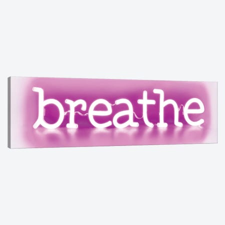 Neon Breathe Pink On White 3-Piece Canvas #HCR12} by Hailey Carr Canvas Print