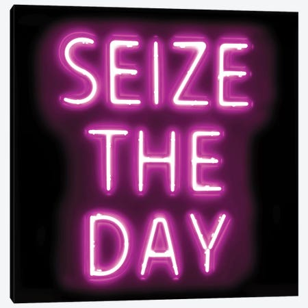 Neon Seize The Day Pink On Black Canvas Print #HCR130} by Hailey Carr Canvas Artwork