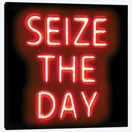 Neon Seize The Day Red On Black Canvas Print #HCR131} by Hailey Carr Canvas Wall Art