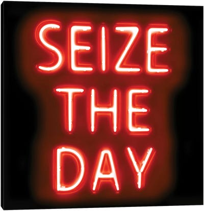 Neon Seize The Day Red On Black Canvas Art Print
