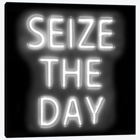 Neon Seize The Day White On Black Canvas Print #HCR132} by Hailey Carr Canvas Artwork