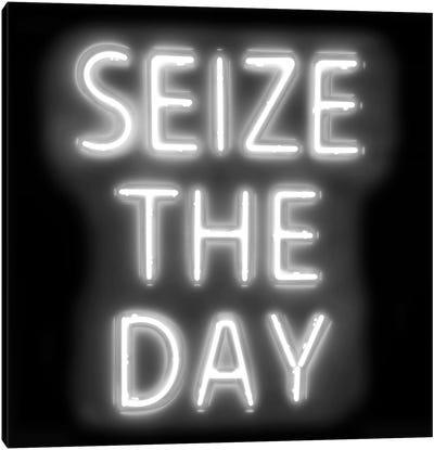 Neon Seize The Day White On Black Canvas Art Print