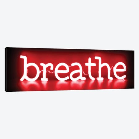 Neon Breathe Red On Black 3-Piece Canvas #HCR13} by Hailey Carr Art Print