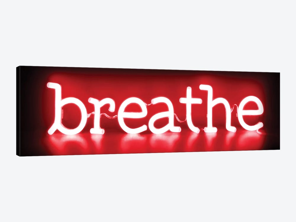 Neon Breathe Red On Black by Hailey Carr 1-piece Canvas Wall Art