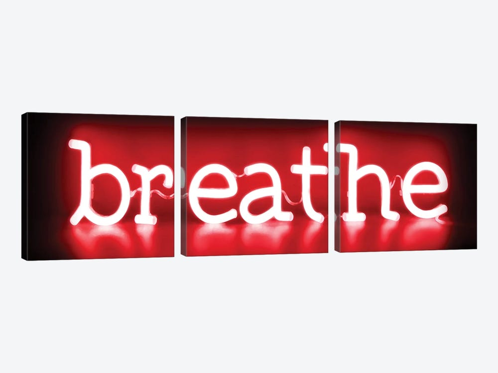 Neon Breathe Red On Black by Hailey Carr 3-piece Canvas Artwork