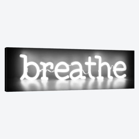 Neon Breathe White On Black 3-Piece Canvas #HCR14} by Hailey Carr Canvas Art