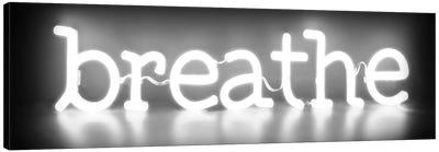 Neon Breathe White On Black Canvas Art Print