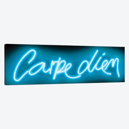 Neon Carpe Diem Aqua On Black Canvas Print #HCR15} by Hailey Carr Canvas Artwork